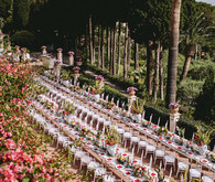 Red and white tablescape for Italian wedding