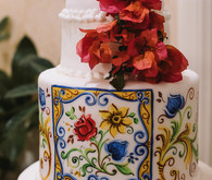 Wedding cake with bougainvillea