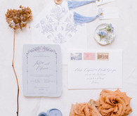 blue wedding stationery