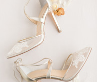 bridal shoes with dried flowers