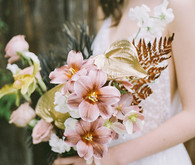 gold painted bridal bouquet