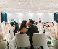 Green and white wedding reception