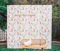salutations photo backdrop for baby shower