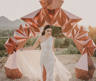 rose gold bridal portrait