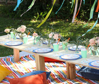 Groovy rainbow themed second birthday party