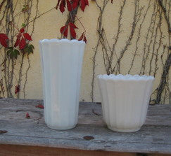 2 Milk Glass Vases