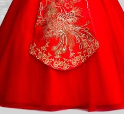 Embroidered phoenix one shoulder red Chinese wedding dress