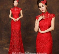 Real Weddings and Wedding Inspiration Ideas | Floor length red lace ...