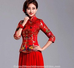 Floral brocade Chinese knots traditional red Chinese wedding dress
