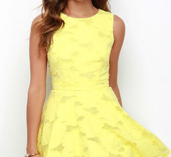 Lulu's Short Yellow Lace Bridesmaid Dress