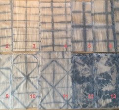 Set of (14) Hand Dyed Indigo Shibori Style Runners