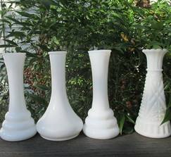 Four Small Vintage Milk Glass Bud Vases