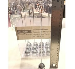 12 silver ball/wire placecard, table number, or photo holders