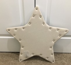 Burlap star-shaped display board with pins