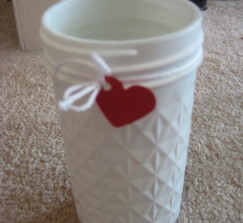 White Mason Jars w/ Heart Detail