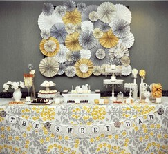 Yellow and Grey Vintage Wedding Backdrop