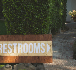 LARGE! RESTROOMS WOOD SIGN GOLD & WHITE Stained wood