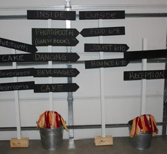 rustic barn wedding chalkboard direction signs in pails