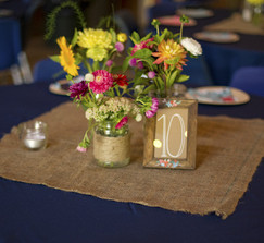 Burlap ribbon, table squares, and yardage