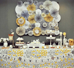 Romantic Yellow & Gray Vintage Wedding Rosette Backdrop (Featured on HWTM)