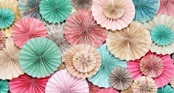 Pink Teal Light Tuquoise Beige and Brown Paper Rosettes Featured on HWTM