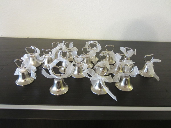 17 table number holders shaped like a bell that actually ring