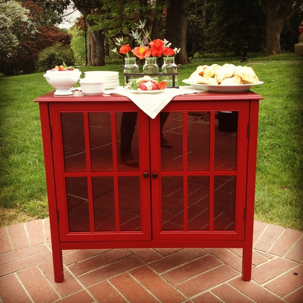 Poppy Red Accent Cabinet/Sideboard. View Larger And More Images