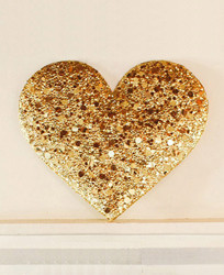 Gold Sequin Heart Installation