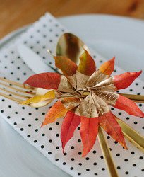 Leaf napkin ring idea