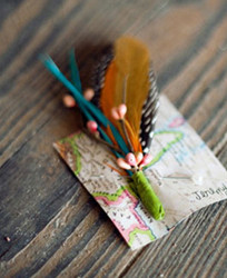 Feather Boutonniere and Vintage Corsage