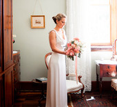 Peach Australian wedding