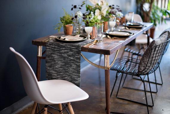 Rustic modern wedding tablescape