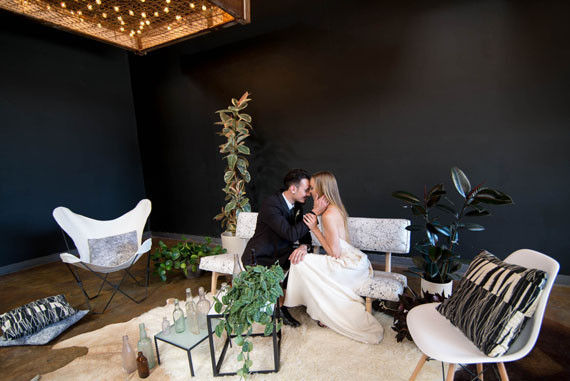 Rustic modern wedding lounge