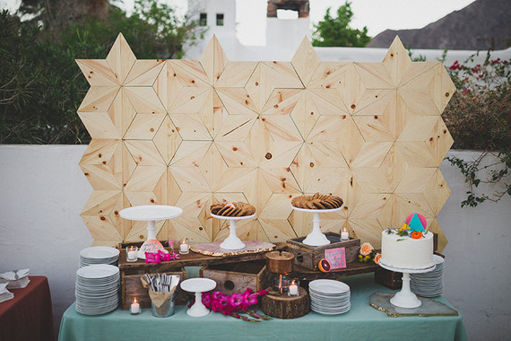 DIY geometric wood backdrop