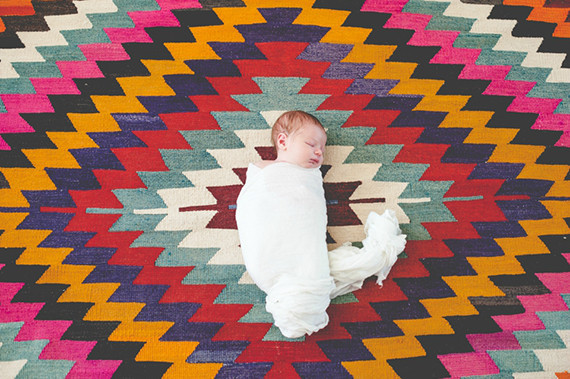 Newborn photos and geo rug