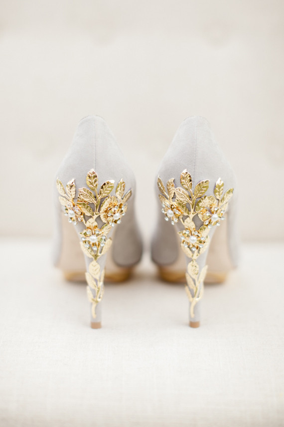 Diy Wedding Shoes Gold Leaf Heel