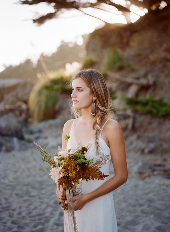 Bohemian beach bridal portrait