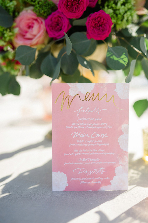 Pink wedding menu