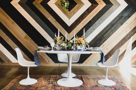 Retro geometric wedding tables cape