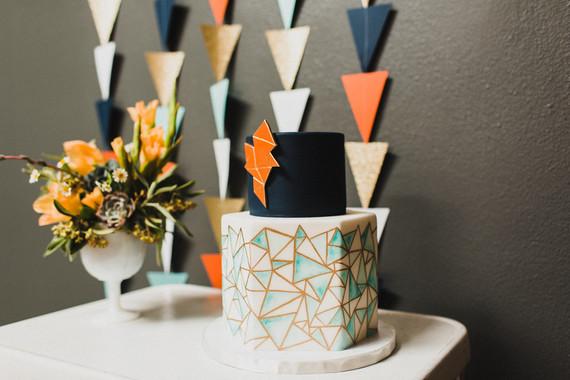 Retro geometric wedding cake
