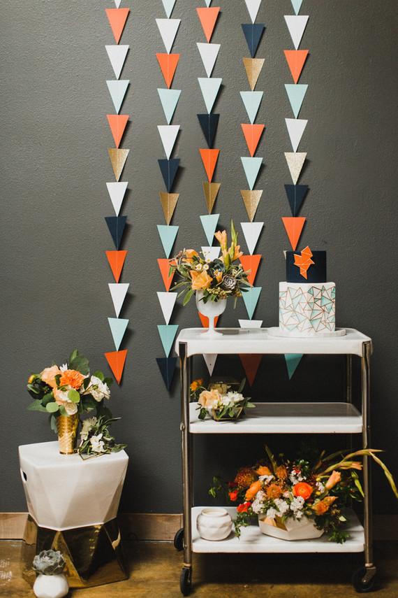 Retro geometric wedding cake table