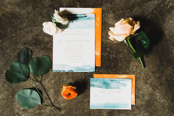 Retro geometric wedding invitation suite