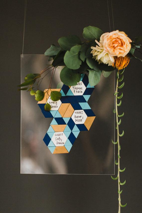 Retro geometric escort cards