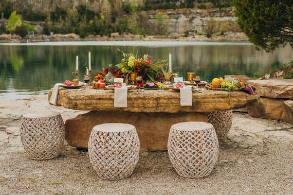 Bohemian outdoor wedding tablescape