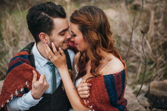 Bohemian outdoor wedding portrait