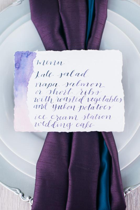 Hand-lettered menu
