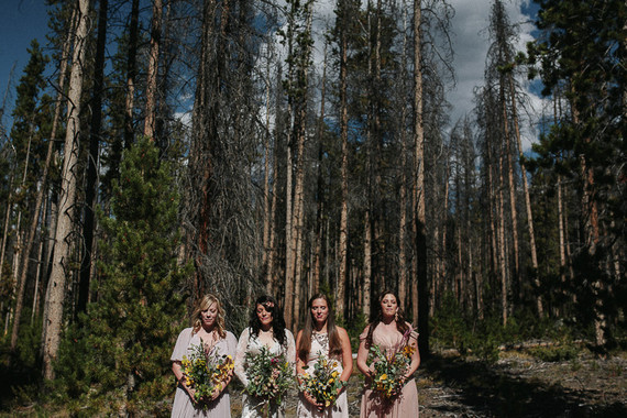 Outdoor bridesmaids portrait