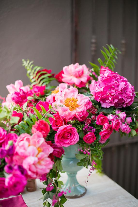 hot pink peony floral arrangements