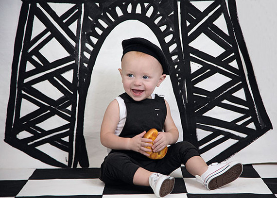 French themed black and white 1st birthday