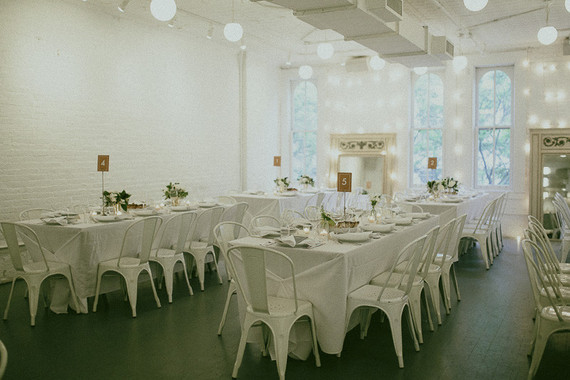 Modern white New York City wedding reception